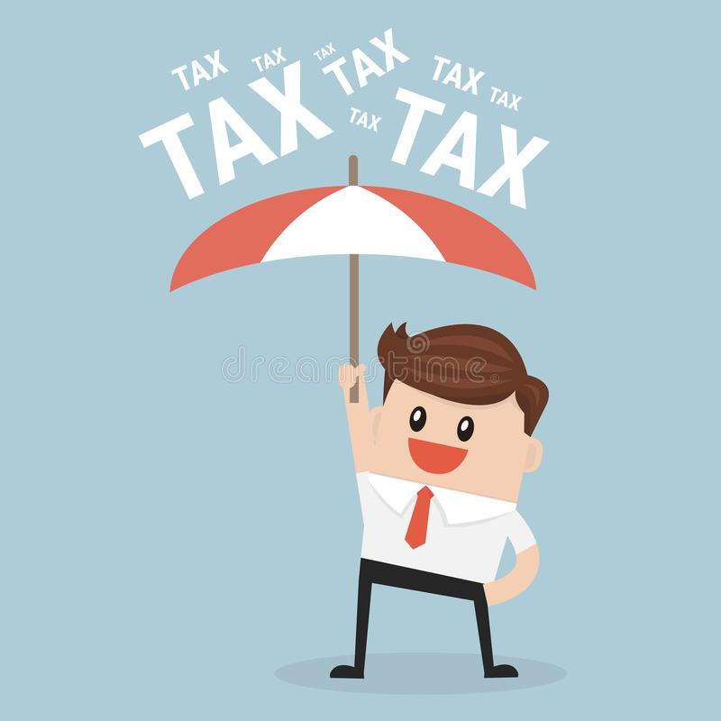 Businessman using umbrella for protecting him from tax. vector illustration