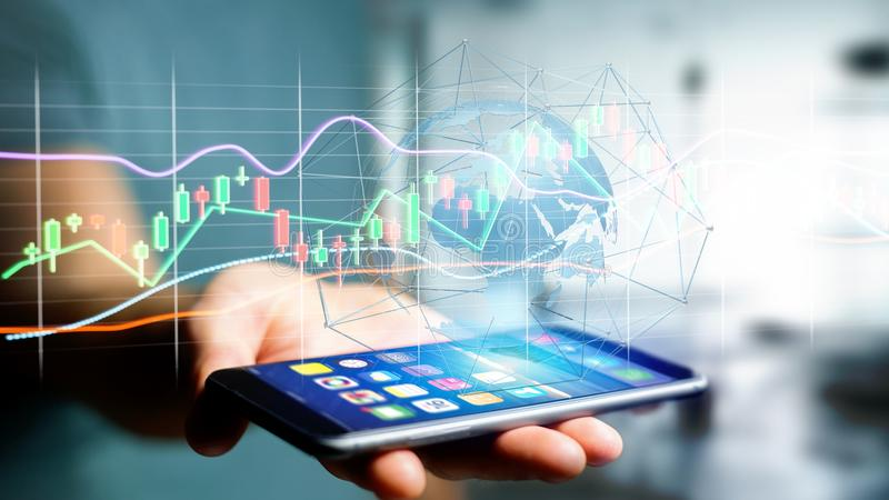 Businessman usng a smartphone with a 3d render Stock exchange tr. View of a Businessman usng a smartphone with a 3d render Stock exchange trading data stock image