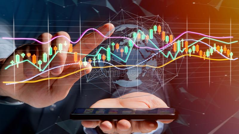 Businessman usng a smartphone with a 3d render Stock exchange tr. View of a Businessman usng a smartphone with a 3d render Stock exchange trading data stock photography