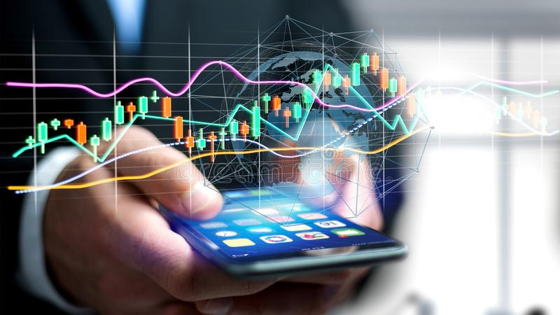 Businessman usng a smartphone with a 3d render Stock exchange tr. View of a Businessman usng a smartphone with a 3d render Stock exchange trading data stock photo