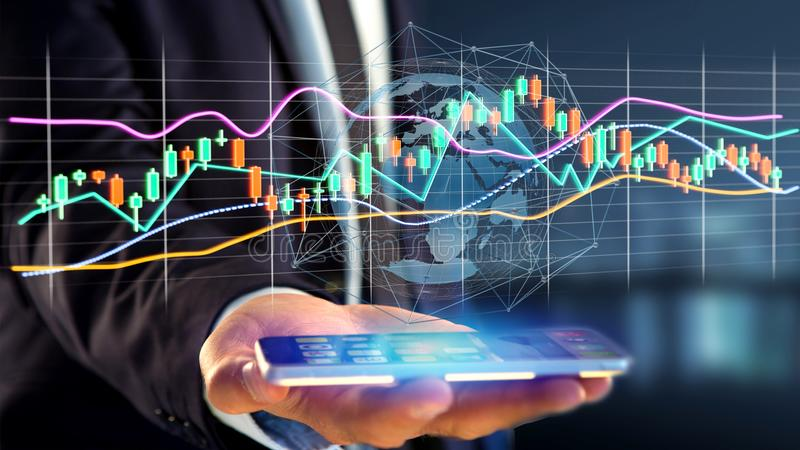 Businessman usng a smartphone with a 3d render Stock exchange tr. View of a Businessman usng a smartphone with a 3d render Stock exchange trading data royalty free stock image