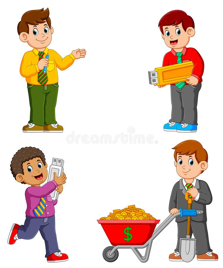 Businessman on various activity. The collection of businessman on various activity stock illustration