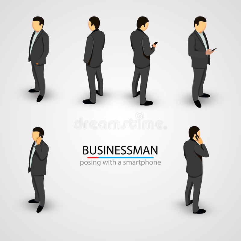 Businessman in various poses with mobile phone vector illustration
