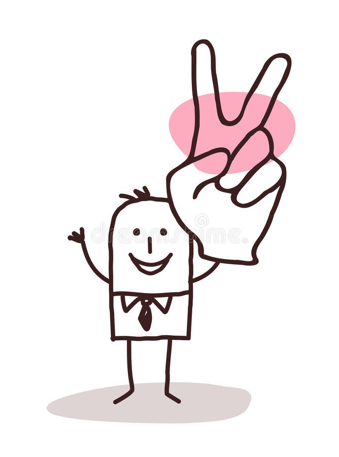 Businessman with victory sign stock illustration