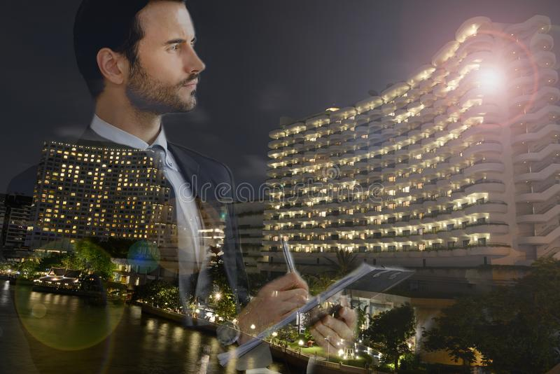 Businessman and view of the city royalty free stock images