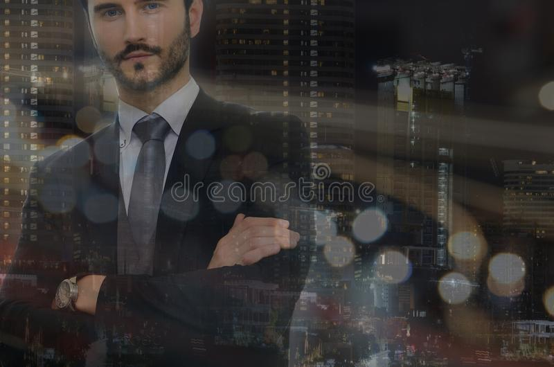 Businessman and view of the cityscape stock images