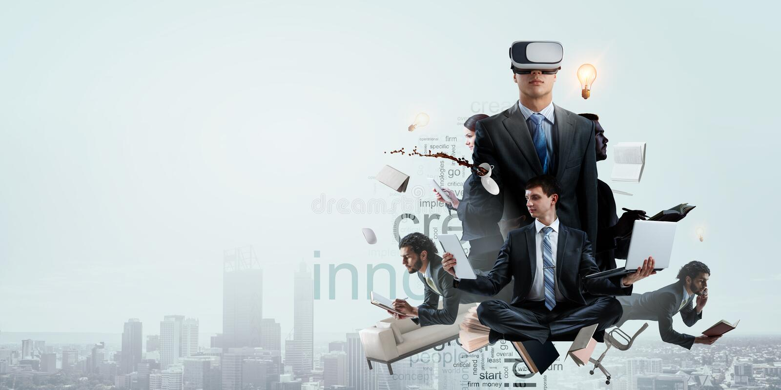 Businessman in virtual mask. Mixed media stock image