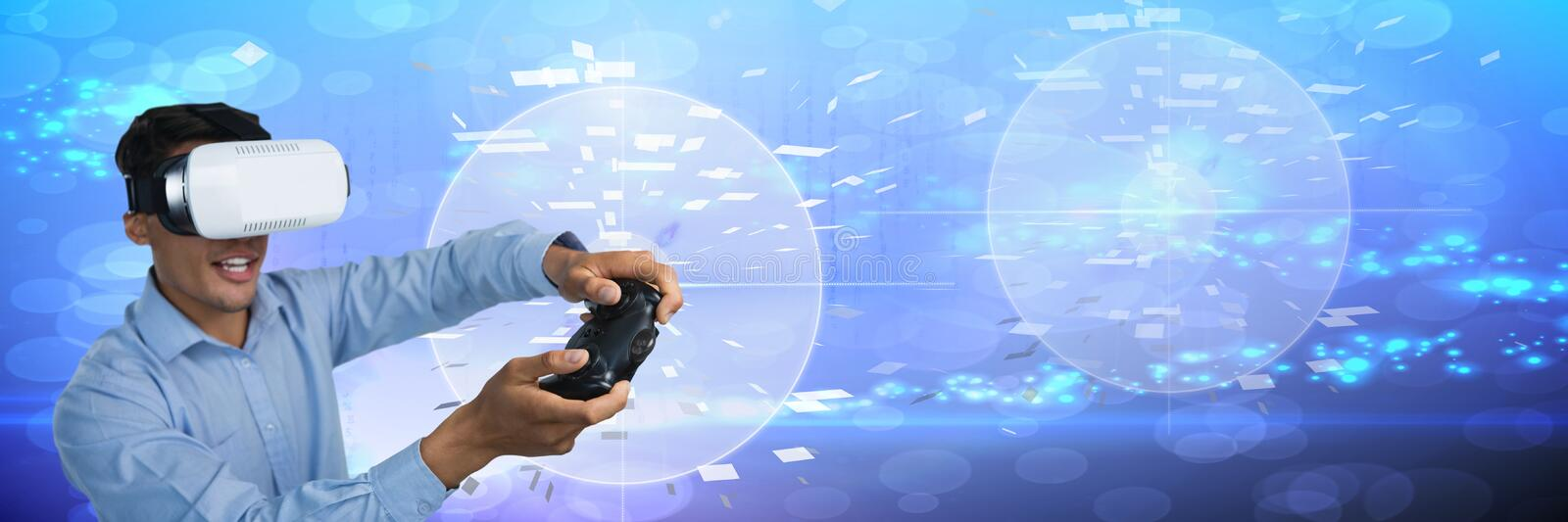 Businessman with virtual reality headset playing with computer game controller with technology backg. Digital composite of Businessman with virtual reality royalty free stock photo