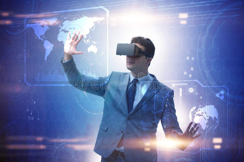 The businessman in virtual reality trading on stock market royalty free stock photo