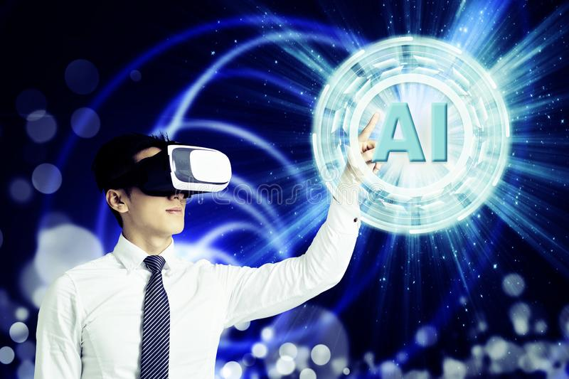 Businessman in VR glasses and pointing at glowing digital Artificial intelligence AI technology royalty free illustration