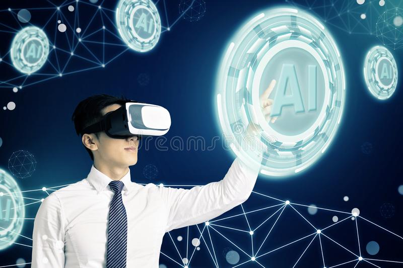 Businessman in VR glasses and pointing at glowing digital Artificial intelligence AI technology stock illustration