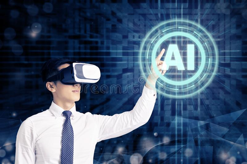 Businessman in VR glasses and pointing at glowing digital Artificial intelligence AI technology royalty free stock photography