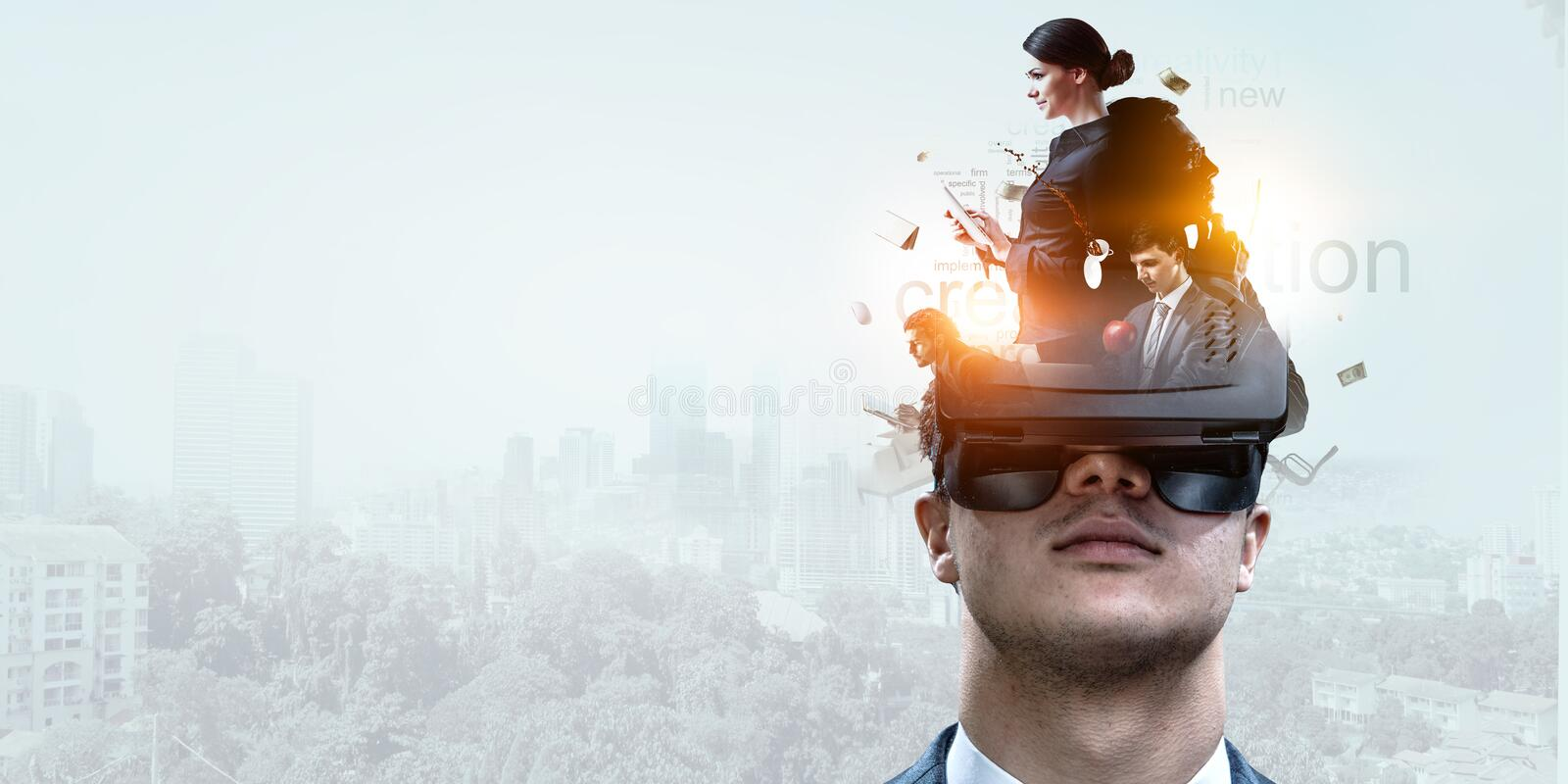 Abstract image of virtual reality experience, a man in VR glasses royalty free stock images
