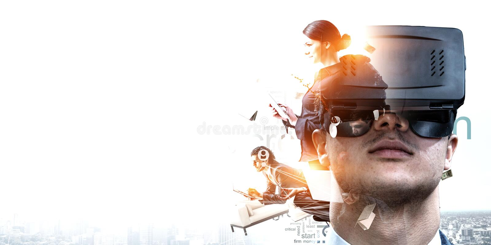Abstract image of virtual reality experience, a man in VR glasses stock photo