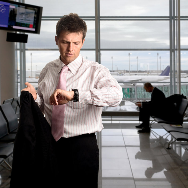 Businessman is waiting on the airport stock photo