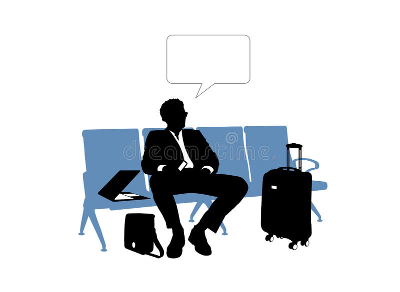 Businessman waiting in the airport vector illustration