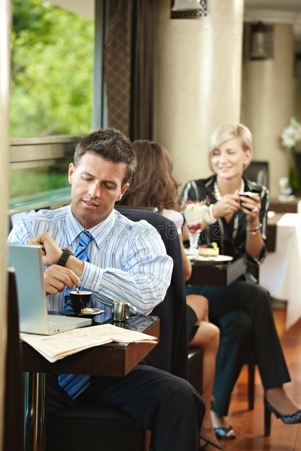 Download Businessman Waiting In Cafe Stock Image - Image: 10993233