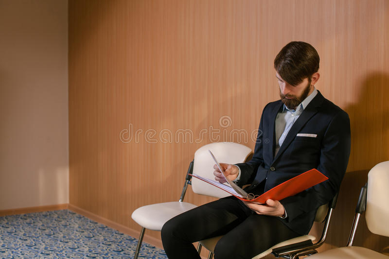 Businessman waiting royalty free stock photo