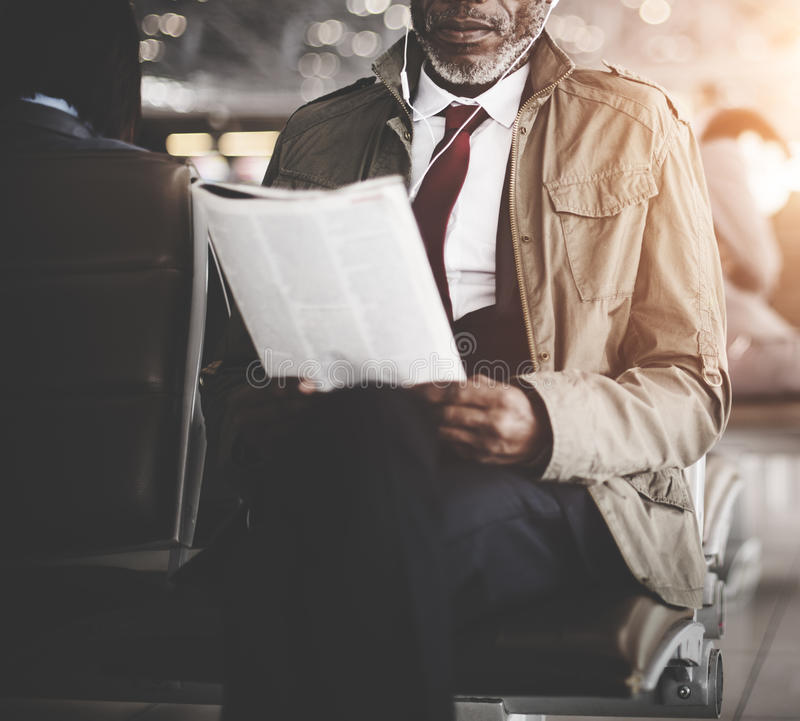 Businessman Waiting Station Reading Travel Concept royalty free stock photo