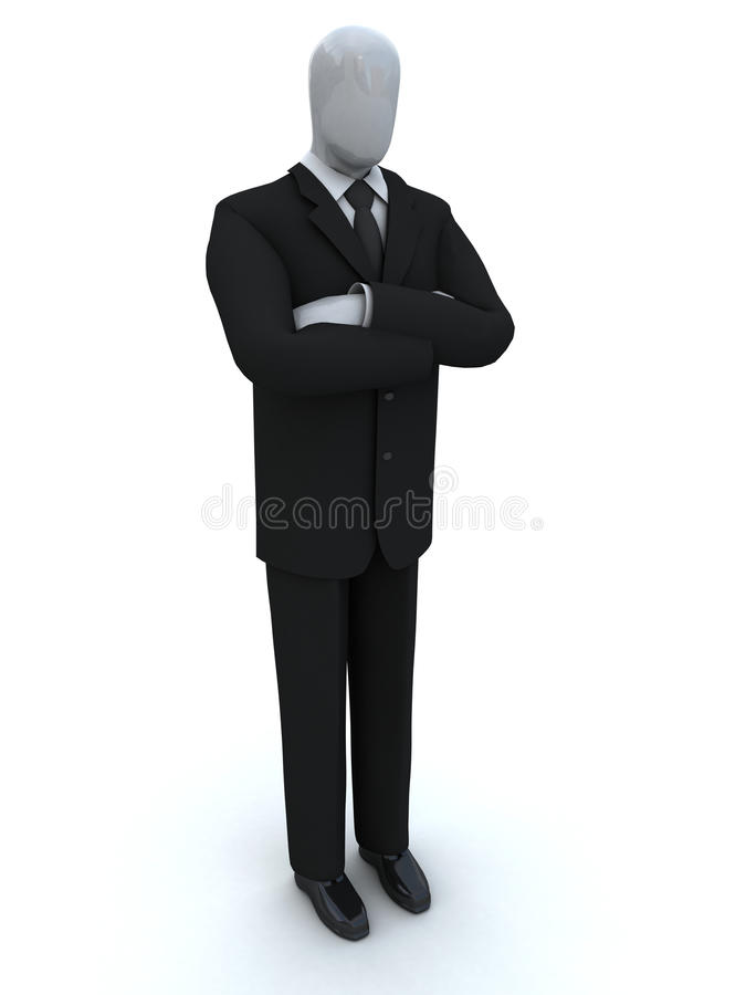 Businessman waits, having combined hands stock image