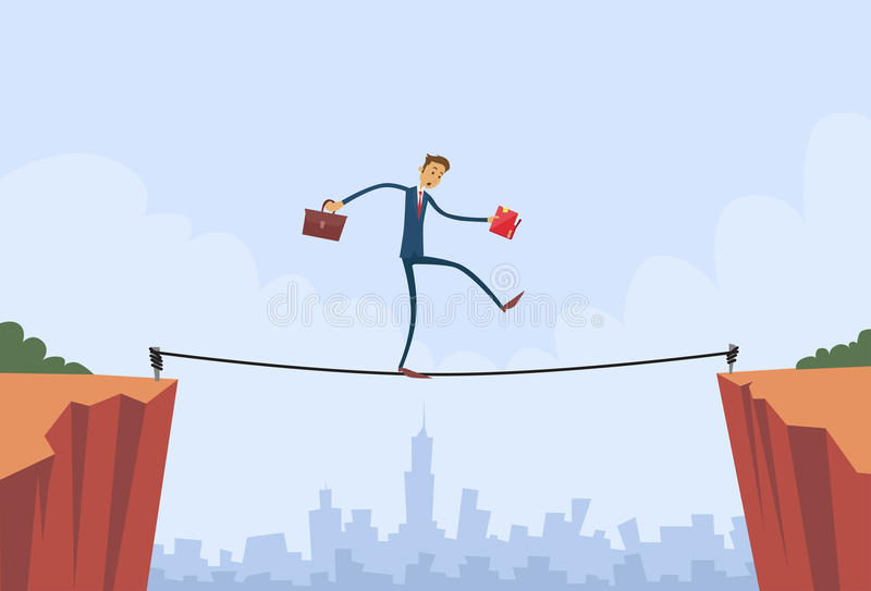 Businessman Walk Over Cliff Gap Mountain Business. Man Balancing Wooden Stick Bridge Flat Vector Illustration