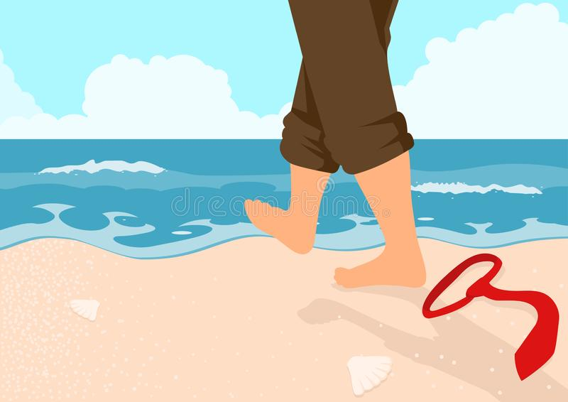 Businessman Walking On The Beach royalty free stock images