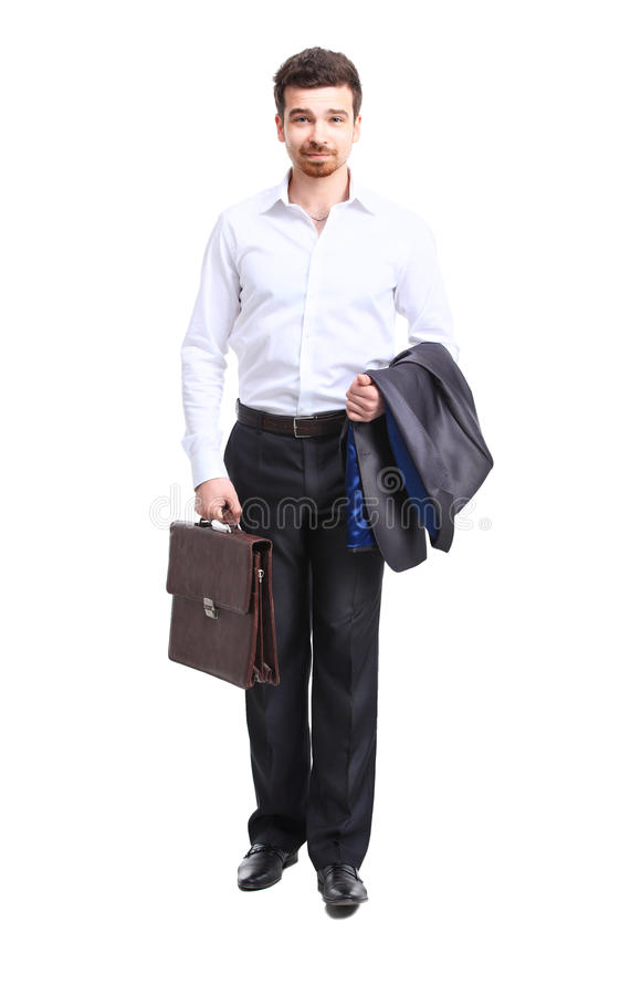 Businessman walking with case royalty free stock photos