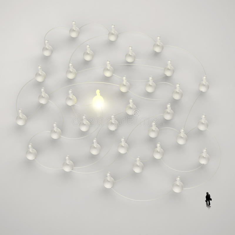 Businessman walking 3d light growing human social network stock illustration