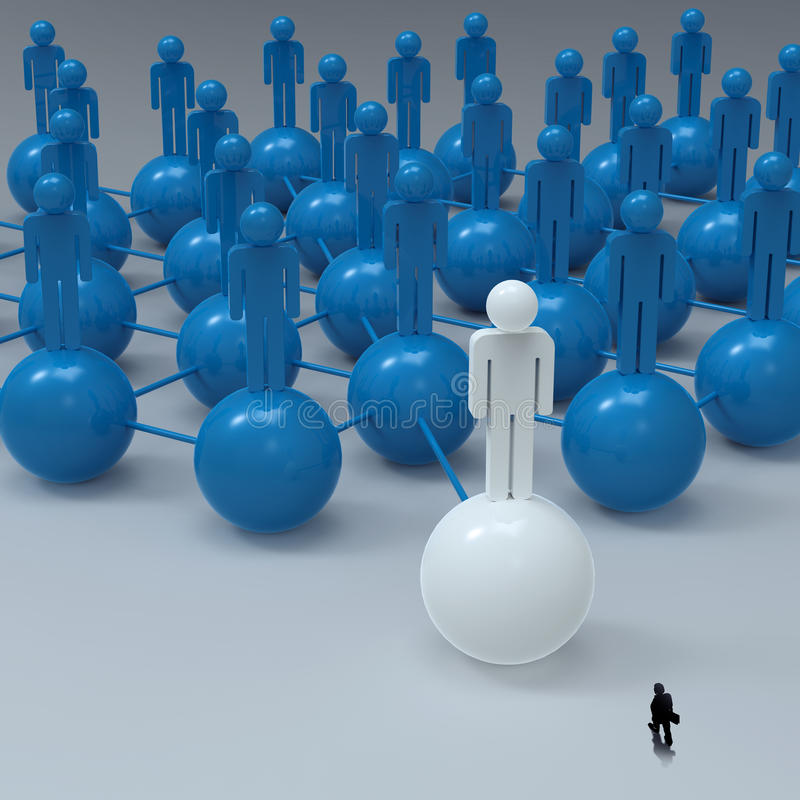 Businessman walking 3d white human social network stock illustration