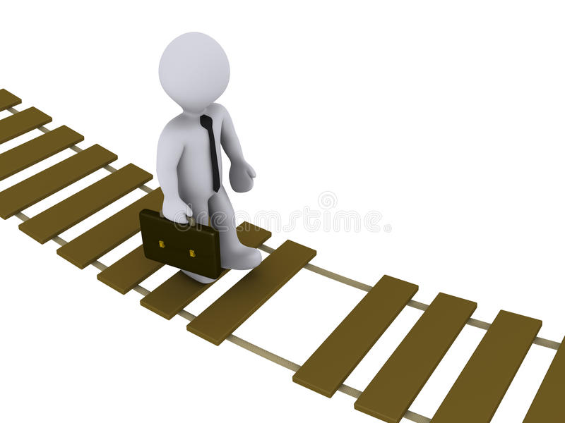 Businessman walking on damaged bridge stock illustration