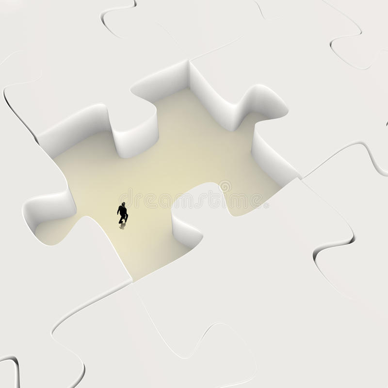 Businessman walking in Missing 3d puzzle royalty free illustration