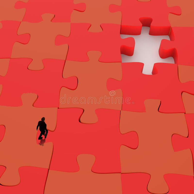 Businessman walking in Missing 3d puzzle piece stock illustration