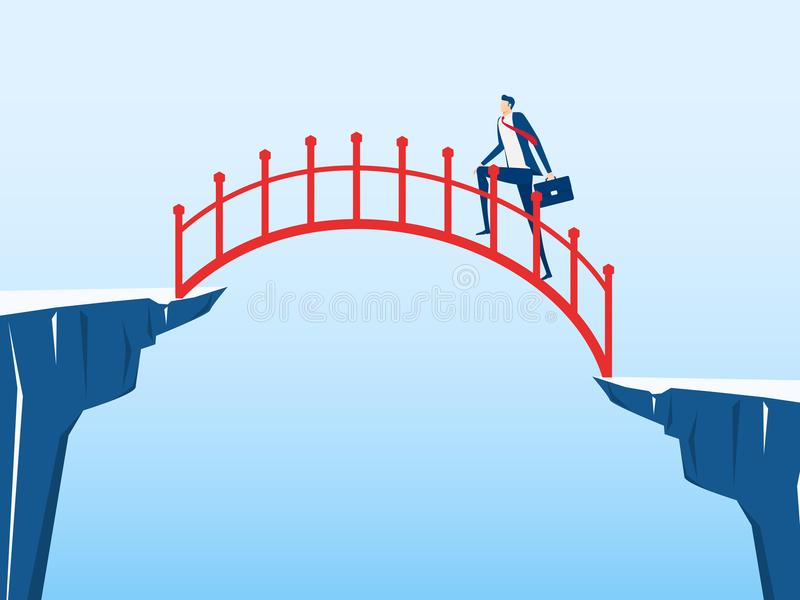 Businessman walking on stair to cross through the gap between hill. Stair step to success. Business risk and success concept. Cartoon Vector Illustration stock illustration