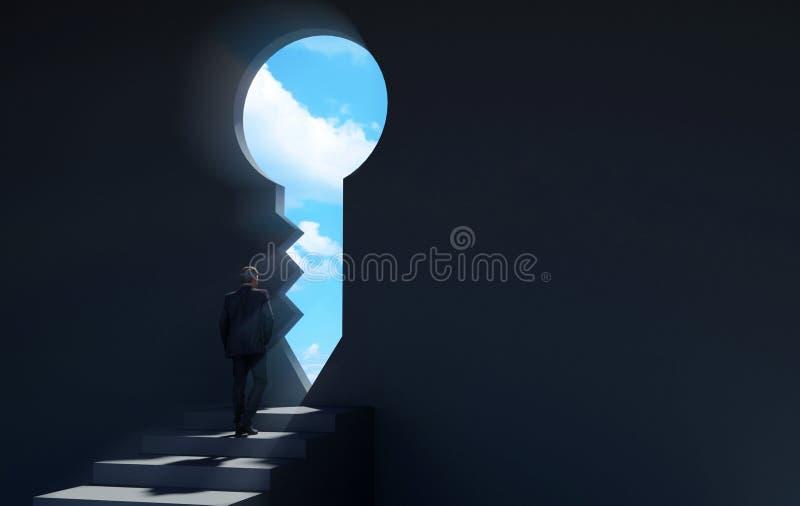 Businessman walking on stairway in dark room through key shaped door revealing blue sky for new opportunities stock illustration