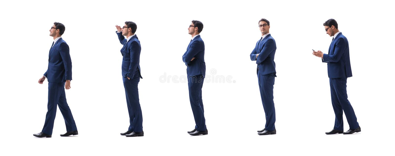 Businessman walking standing side view isolated on white backgro stock photo