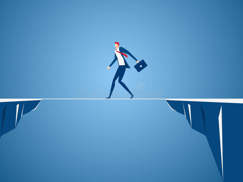 Businessman walking tightrope across the gap between hill. Walking over cliffs.Business risk and success concept. Cartoon Vector Illustration vector illustration