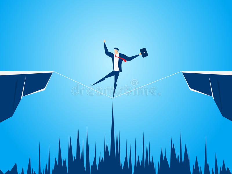 Businessman walking tightrope across the gap between hill. Walking over cliffs.Business risk and success concept. Cartoon Vector Illustration royalty free illustration