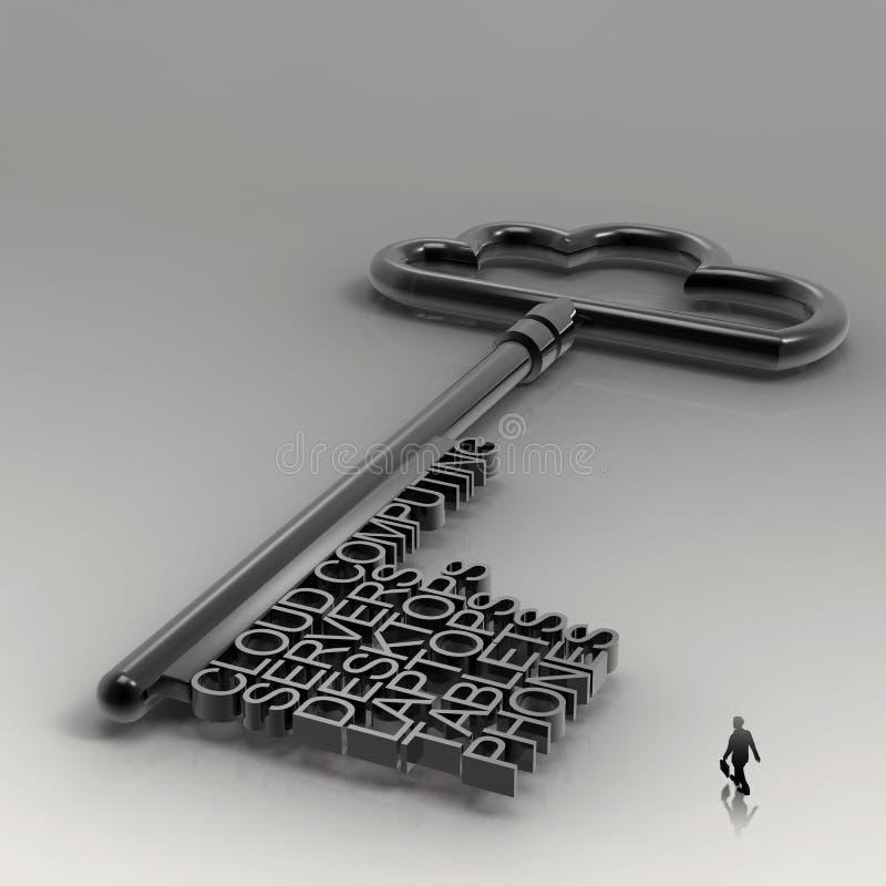 Businessman walking to Cloud computing stock illustration