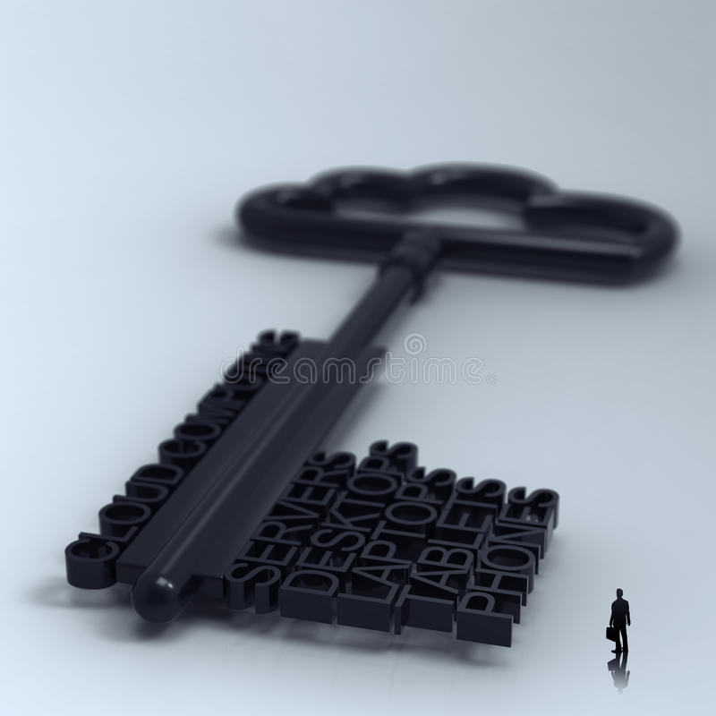 Businessman walking to Cloud computing royalty free illustration