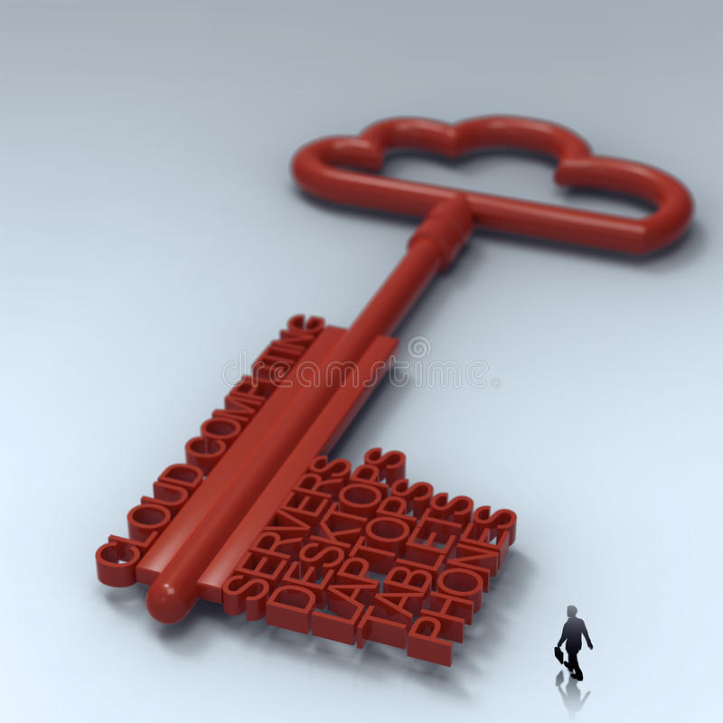 Businessman walking to Cloud computing diagram stock illustration