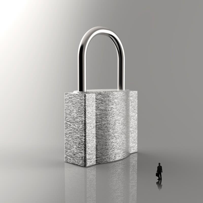 Businessman walking to 3d metal padlock royalty free illustration