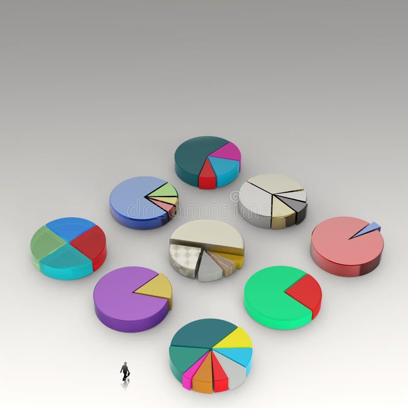 Businessman walking to 3d Pie chart stock illustration