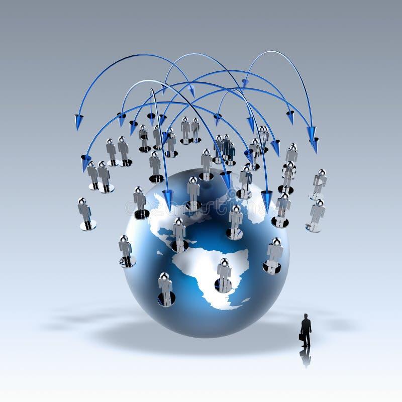 Businessman walking to social network stock illustration