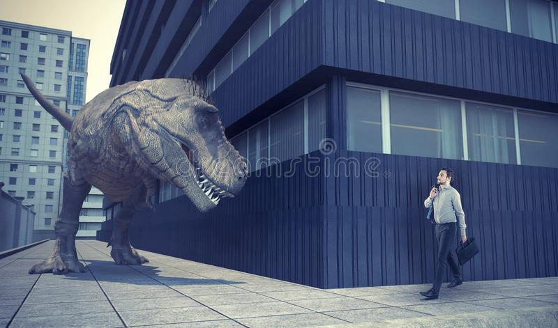 Businessman walking in town and a dinosaur. Is waiting for him round the corner royalty free stock photos
