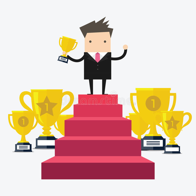 Businessman Walking Up Stairs, Concept Success Businessman Win Price. vector illustration