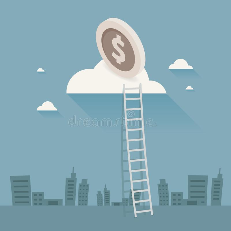 Businessman Walking Up Stairs, money. Vector Illustration, Ladder to clouds. on gray background.  royalty free illustration