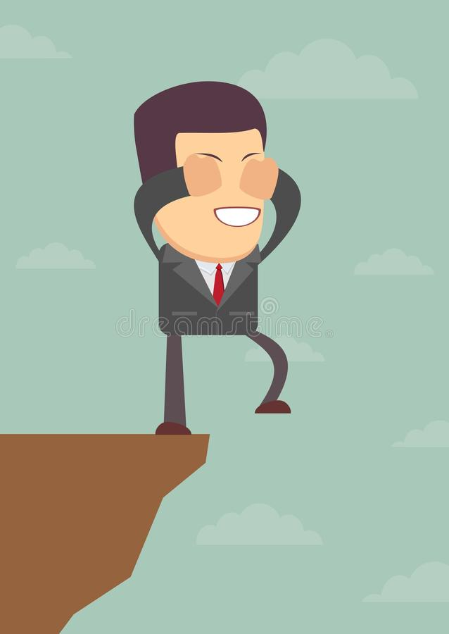 Businessman walks off a cliff. Vector illustration stock illustration