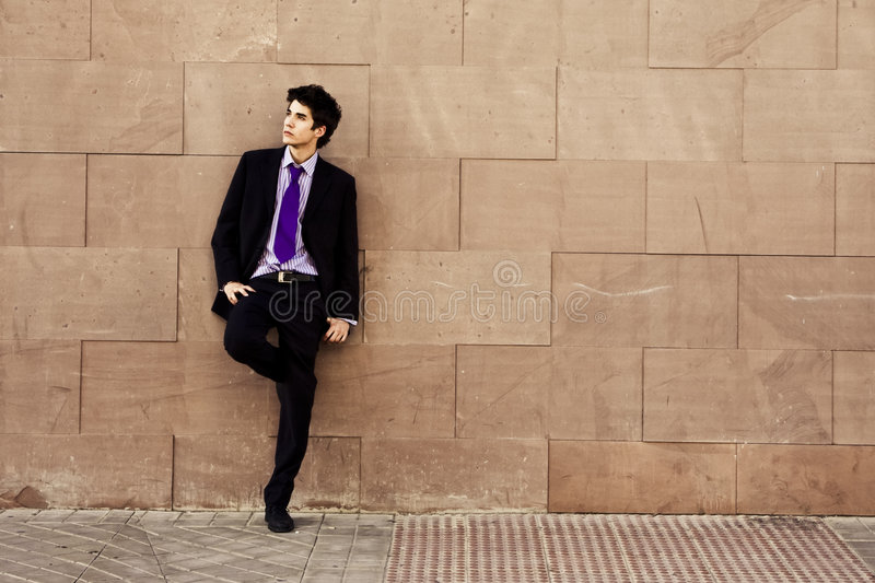 Download Businessman on wall stock photo. Image of posing, boss - 4600094