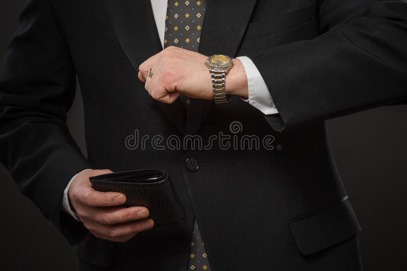 Businessman with wallet stock photos