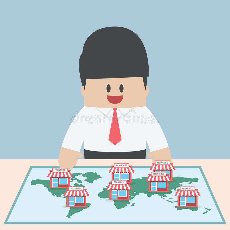 Businessman want to expand his business, Franchise Concept vector illustration
